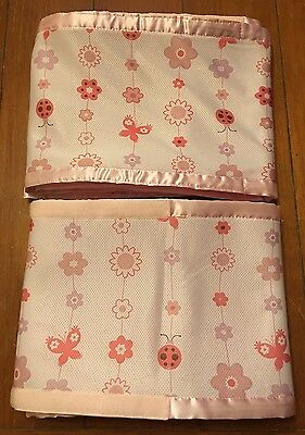 Breathable Crib Liner/Bumper PINK Lady Bugs Flowers