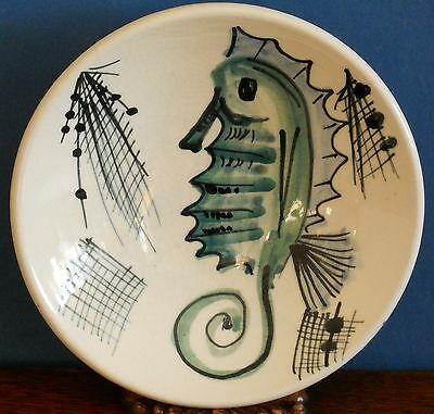 A vintage hand painted Jersey Pottery dish with Seahorse signed C.I.B