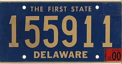 Authentic Usa 2000 Delaware License Plate.  911