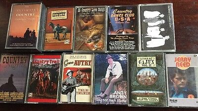 12 Vintage Country USA Music Cassette Tapes Albums Jerry Reed Gene Autry