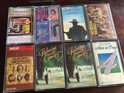 8 Vintage Country USA Music Cassette Tapes Albums Rhinestone Cowboy Outlaws