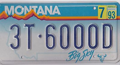 Authentic Usa 1993 Montana License Plate.