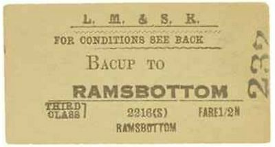 LM&S Railway Ticket Bacup to Ramsbottom