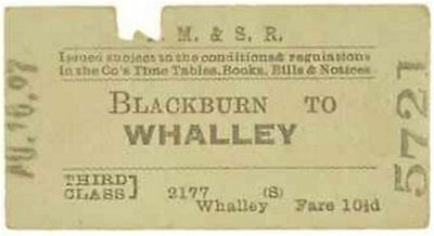LM&S Railway Ticket Blackburn to Whalley