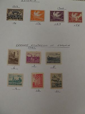 Estonia collection of 10 stamps inc German Occupation