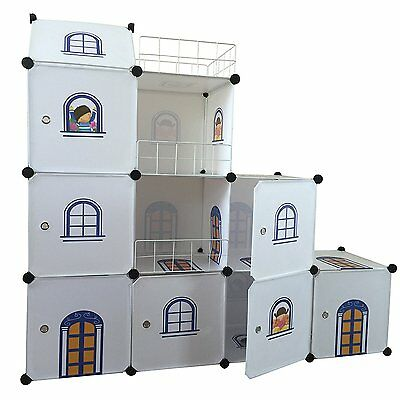 Kids Castle Wardrobe - Kids Bedroom Tidy Wardrobe Toy Boxes Units DIY Storage