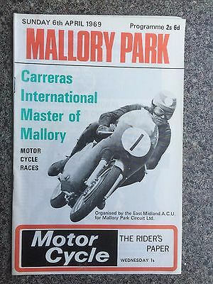 Motor cycle racing programme Mallory Park 1969