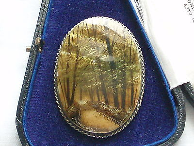 Large Vintage Signed Hand Painted Autumn Woodland Watercolour Painting Brooch