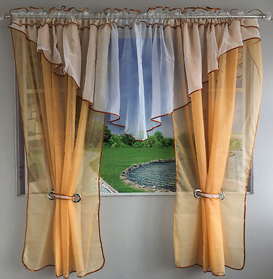 New Amazing Voile Net Curtain Ready Made Living Dining Room Peach White Modern