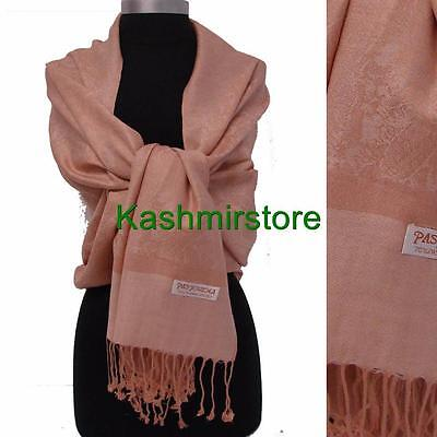 New Soft PASHMINA Paisley Floral Silk Wool Scarf Wrap Shawl Classic Beige#v1
