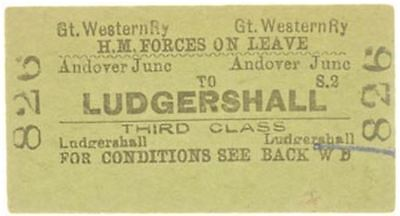 Great Western Railway Ticket Andover Junc to Ludgershall