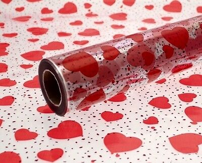 Cellophane Heart Gift Wrap 2m Long x 80cm Wide For Gifts, Valentines & Flowers