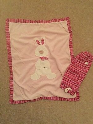 Baby Cot / Pram Blanket By Jelly Baby. Pink With Bunny Motif And Carry Bag