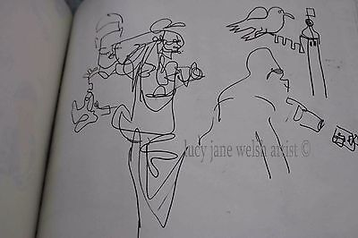 """original art work - signed inspired by London- 10x10 """"drawing """" ink on paper"""
