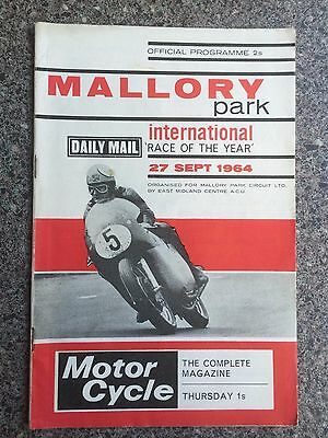 Motor cycle racing programme Mallory Park 1964