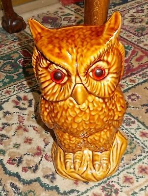 Vintage Pottery Owl, Dark Cream Colour with realistic Glass Eyes