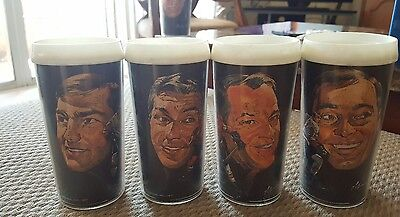 VINTAGE 1960s SET OF 4 DETROIT RED WINGS VOLPE CUPS,G HOWE,CONNALY,ETC. ETC..