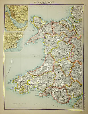 Attractive map of Wales by John Bartholomew c1890