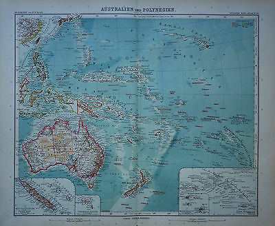 A detailed map of Australia - New Zealand & Pacific Islands by Adolf Stieler