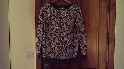 maternity jumper size 10 grey/floral/butterflies