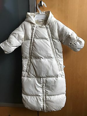GAP Feather & Down Ivory Snowsuit Pramsuit -  0-3 months