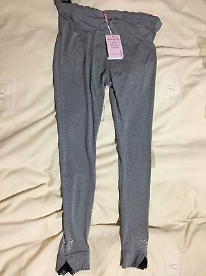 NEW Grey Butterfly Maternity Leggings with Button Waistband Size M