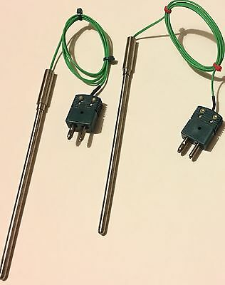 Lot Of 2 Type K Thermocouple Thermometer Probes With Connectors