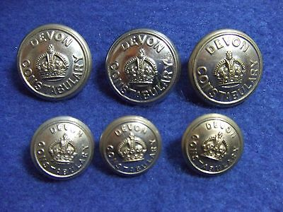 Job Lot Of Devon Constabulary Plated Metal Police Buttons, Kings Crown