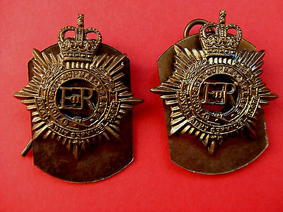 Pair Of Genuine Erii Royal Army Service Corps Brass Collar Badges + Plates/pins