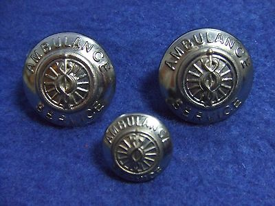 Job Lot Of Ambulance Service Silver Plated Metal Buttons