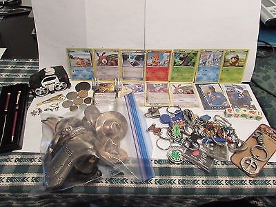 Large Random lot-COINS-SILVER PLATE-JEWELRY-POKEMON CARDS-KEY CHAINS-MORE...