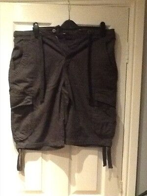 Mens Grey Cargo Shorts 36""