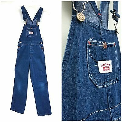 VINTAGE 1970s KIDS OVERALLS by ROUND HOUSE size 12 L XL Brand Denim Coveralls