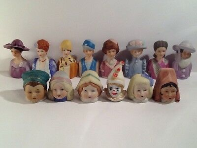 American Fashion Thimbles & 6 Bisque Head Thimbles