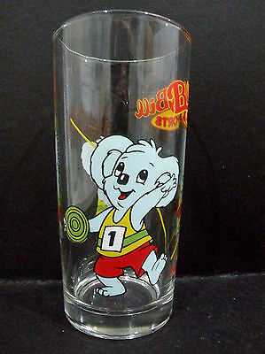 Blinky Bill Sports promotional Glass - javelin & discus throwing, Nutella vgc