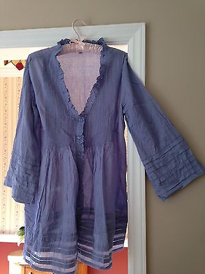 New SOPHIE MAX Women's Shirt Boho Peasant Blue Blouse Size Small