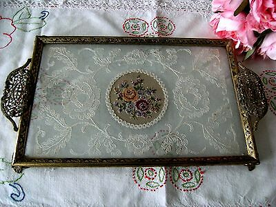 Vintage Petit Point & Lace Rectangle Dressing Table Vanity Tray Brass Filigree