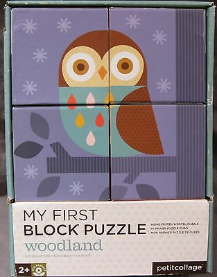 Toy PETIT COLLAGE My First Block Puzzle Woodland Cardboard 4 Blocks 6 Scenes GUC