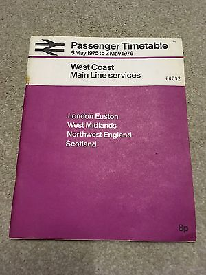 British Rail West Coast Main Line Timetable May 1975 to May 1976