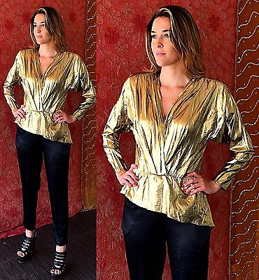 Vintage 70s Disco Gold Jumpsuit Party Metallic Cocktail Evening Jumpsuit