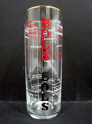 """Bols Cocktail Glass with cocktail recipes vgc  (5 3/4"""" x 2 1/8"""")"""