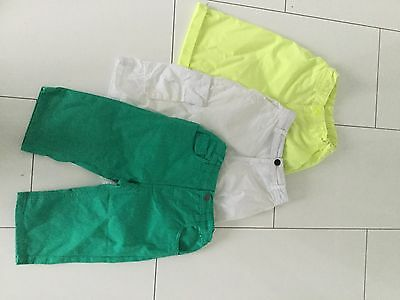 Boys shorts x3 age 9-10, Green, Lime And White