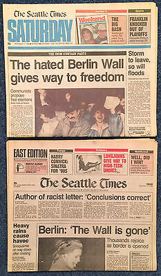Berlin Wall Falls Lot of 2 Seattle Times Newspapers 11/10/1989 11/11/1989