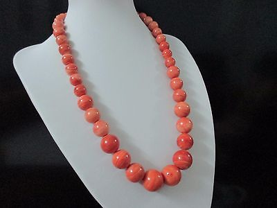 92.8 gr.Natural Victorian MaMo Coral Necklace Shrimp Round BeadsUltra Rare Beads