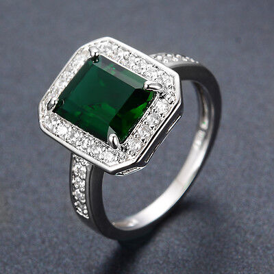 10*8MM Green Emerald Gem Wedding Rings Womens Zircon 10Kt Black Gold Filled Sz O