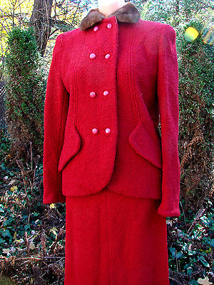 Vintage 40s 50s RED Boucle Jacket Skirt Suit MINK FUR Collar S  Wool Holiday B34