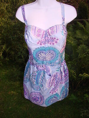 Vintage 50s 60s Swimsuit  Blue SARONG Skirt  Boning COTTON Cabana M Butterfly