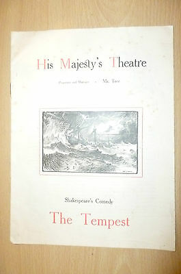 His Majesty's Theatre Programme- THE TEMPEST by William Shakespeare