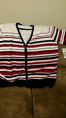 Alfred Dunner Women's Sweater Top Sz 1X Am. Red,white & Blue Nwt Short Sleeve