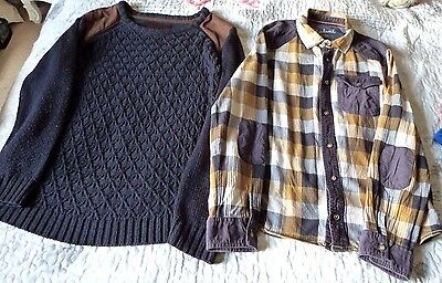 Boys Navy Heritage Sweater/Jumper & Checked Shirt Both 12-13